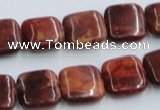 COP527 15.5 inches 14*14mm square red opal gemstone beads wholesale