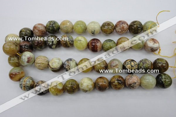 COP551 15.5 inches 18mm round yellow & green natural opal beads