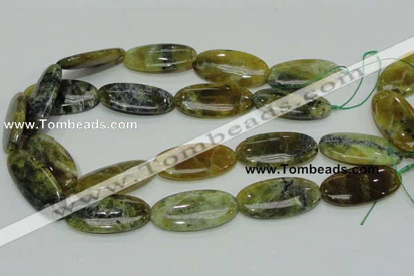 COP556 15.5 inches 20*40mm oval yellow & green natural opal beads