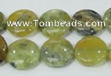 COP558 15.5 inches 18mm flat round natural yellow & green opal beads