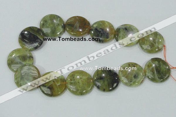 COP559 15.5 inches 30mm flat round natural yellow & green opal beads