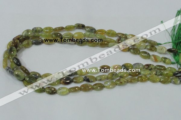 COP561 15.5 inches 8*12mm oval natural yellow & green opal beads