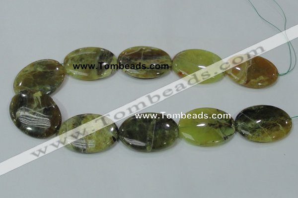 COP565 15.5 inches 30*40mm oval natural yellow & green opal beads