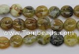 COP566 15.5 inches 8mm flat round natural yellow & green opal beads