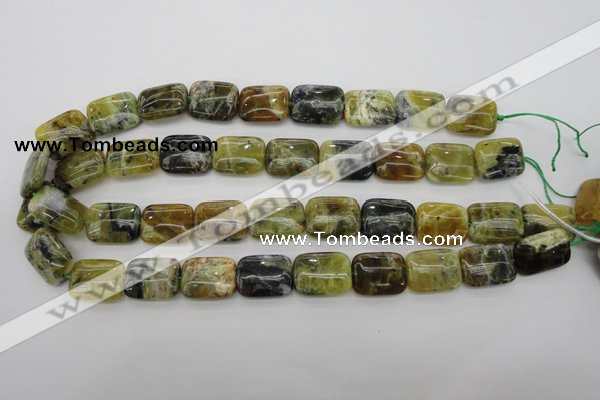 COP569 15.5 inches 15*20mm rectangle natural yellow & green opal beads