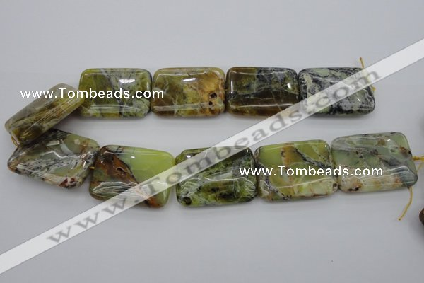 COP573 15.5 inches 30*40mm rectangle natural yellow & green opal beads
