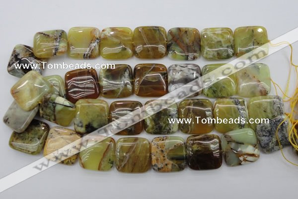 COP581 15.5 inches 25*25mm square natural yellow & green opal beads
