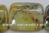 COP585 15.5 inches 45*45mm square natural yellow & green opal beads