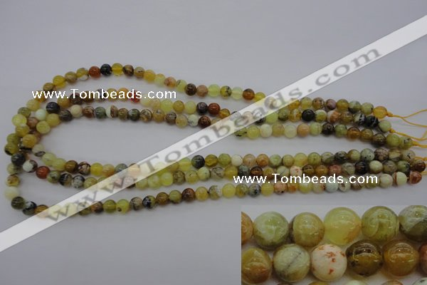 COP587 15.5 inches 6mm round natural yellow & green opal beads