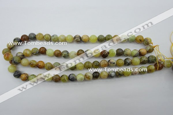 COP589 15.5 inches 10mm round natural yellow & green opal beads