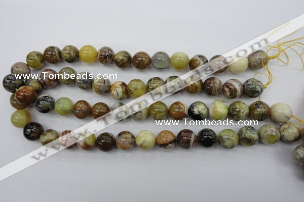 COP591 15.5 inches 14mm round natural yellow & green opal beads