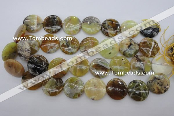 COP596 15.5 inches 25mm flat round natural yellow & green opal beads