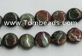 COP602 15.5 inches 10mm flat round green opal gemstone beads