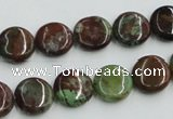 COP603 15.5 inches 12mm flat round green opal gemstone beads