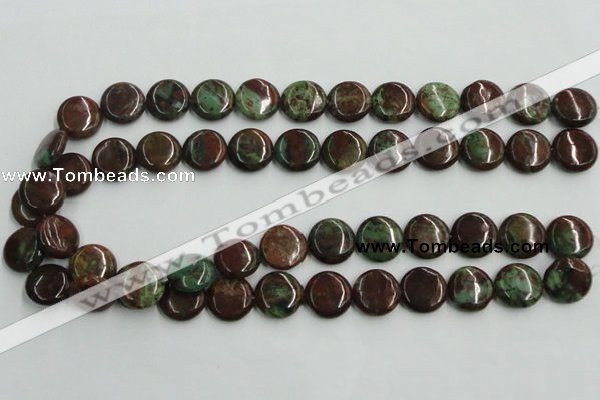 COP604 15.5 inches 16mm flat round green opal gemstone beads