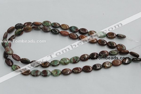 COP608 15.5 inches 10*14mm oval green opal gemstone beads wholesale