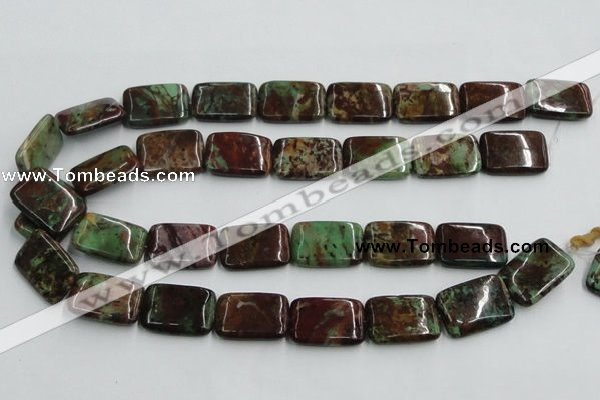 COP611 15.5 inches 18*25mm rectangle green opal gemstone beads