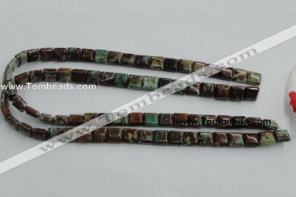 COP613 15.5 inches 10*10mm square double drilled green opal beads