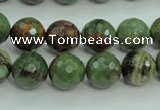 COP663 15.5 inches 10mm faceted round green opal gemstone beads