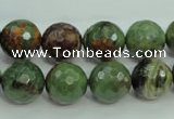 COP664 15.5 inches 12mm faceted round green opal gemstone beads
