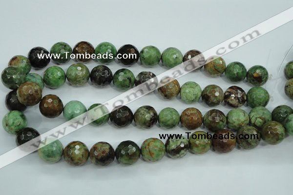 COP666 15.5 inches 16mm faceted round green opal gemstone beads