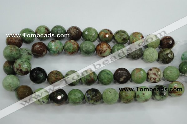 COP667 15.5 inches 18mm faceted round green opal gemstone beads