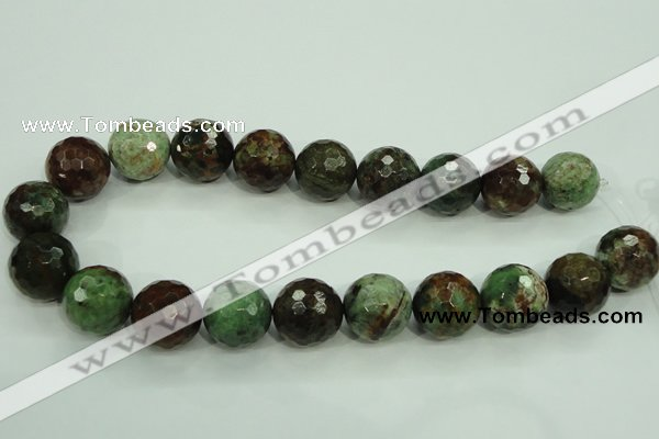 COP668 15.5 inches 20mm faceted round green opal gemstone beads