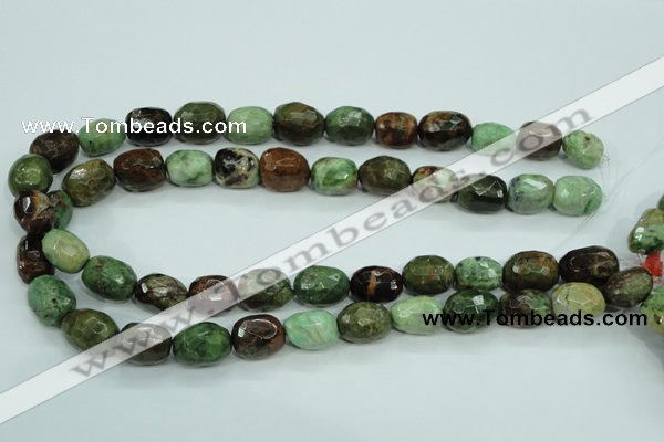 COP674 15.5 inches 12*16mm faceted nuggets green opal gemstone beads