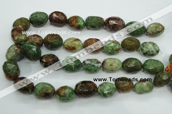 COP675 15.5 inches 18*25mm faceted nuggets green opal gemstone beads