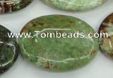 COP682 15.5 inches 30*40mm oval green opal gemstone beads