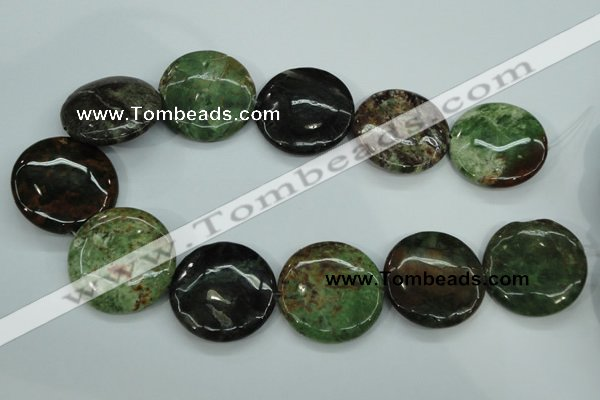 COP684 15.5 inches 35mm flat round green opal gemstone beads