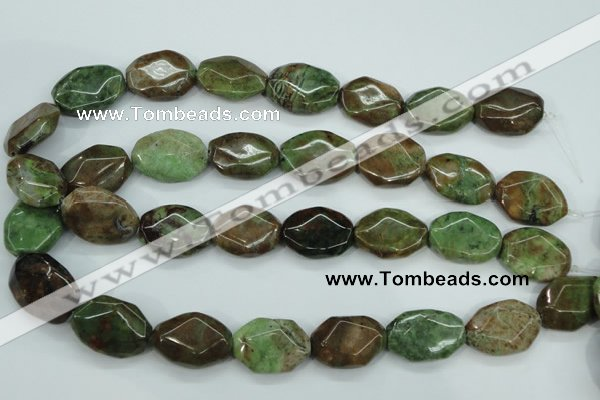 COP692 15.5 inches 18*25mm octagonal green opal gemstone beads