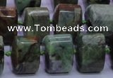 COP695 15.5 inches 11*15*15mm faceted triangle green opal gemstone beads