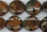 COP755 15.5 inches 20mm flat round green opal gemstone beads
