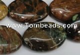 COP759 15.5 inches 20*30mm oval green opal gemstone beads