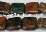 COP765 15.5 inches 20*20mm square green opal gemstone beads