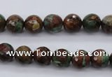 COP963 15.5 inches 10mm faceted round green opal gemstone beads
