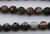 COP964 15.5 inches 12mm faceted round green opal gemstone beads