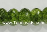 COQ104 15.5 inches 13*18mm faceted rondelle dyed olive quartz beads