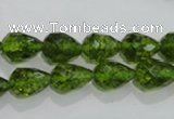 COQ108 15.5 inches 8*12mm faceted teardrop dyed olive quartz beads