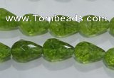 COQ109 15.5 inches 10*14mm faceted teardrop dyed olive quartz beads