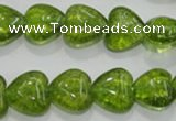 COQ32 15.5 inches 18*18mm heart dyed olive quartz beads wholesale