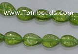 COQ40 15.5 inches 8*12mm flat teardrop dyed olive quartz beads