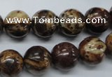 COS81 15.5 inches 14mm round red ocean stone beads wholesale