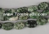 COV52 15.5 inches 8*12mm oval green spot gemstone beads wholesale