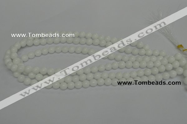 CPB03 15.5 inches 8mm round white porcelain beads wholesale