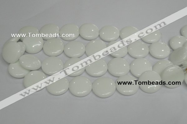 CPB100 15.5 inches 25mm flat round white porcelain beads wholesale