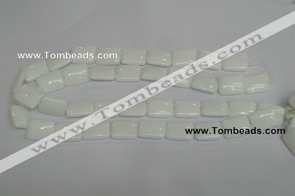 CPB122 15.5 inches 15*20mm rectangle white porcelain beads wholesale
