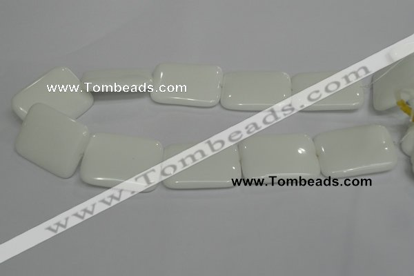 CPB125 15.5 inches 30*40mm rectangle white porcelain beads wholesale