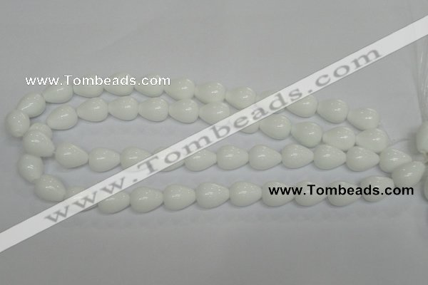 CPB22 15.5 inches 10*14mm teardrop white porcelain beads wholesale